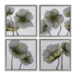 Uttermost - Uttermost Mini Floral Glow Wall Art Set of 4 34216 - This hand painted artwork on canvas features a high gloss finish on the flowers. The canvas has been stretched and fraMedium size: in a shadow box style frame finished in champagne silver leaf.