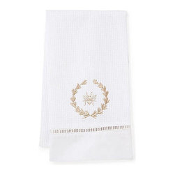 Jacaranda Living - Waffle Weave Guest Towel, Beige Bee Wreath - Waffle Weave Guest Towel trimmed with ladder lace and cotton percale, embroidered with the Beige Bee Wreath. Made by Zulu women in South Africa.