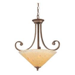 Toltec Lighting - Bronze Finish 3 Bulb Uplight Pendant with Amber Crystal Glass - 3 medium base 100 watt bulb(s) (not included).