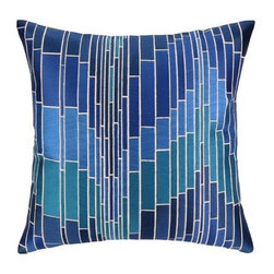 Trina Turk - Trina Turk Loomis Pillow-Blue - The Blue Loomis Pillow by Trina Turk is part of a line infused with bold signature prints and unique dynamic hues, Trina's modern and optimistic outlook meld the best of classic American design with a California confidence, incorporating beautiful fabrications and impeccable quality for the effortless elan and carefree glamour.