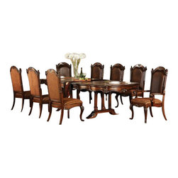 "Acme - 7 PC Remington Cherry Brown Finish Wood Double Pedestal Formal Dining Room Set - 7-Piece Remington cherry brown finish wood double pedestal formal dining room set with fabric upholstered chair seats and bonded leather backs. This set includes the Table , 2 - arm chairs and 4 - side chairs. Additional chairs and Hutch and buffet also available separately at additional cost. Table measures 44"" W x 80"" L (112"" L with 2 - 16"" Leaves included). Arm chairs measure 42"" H at the back , Side chairs measure 42"" H to the back. Some assembly required."