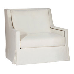 Gabby - Gabby Helena Swivel Chair - The Gabby Helena swivel chair's simple look delivers a sleek and contemporary touch. The's white furnishing's rotating frame combines clean lines with nailhead accents for unexpected allure. Available in a variety of fabrics; Not available in leather