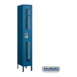 Salsbury Industries - Vented Metal Locker - Single Tier - 1 Wide - 6 Feet High - 15 Inches Deep - Blue - Vented Metal Locker - Single Tier - 1 Wide - 6 Feet High - 15 Inches Deep - Blue - Assembled