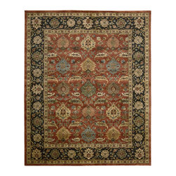 """Nourison - Nourison Jaipur JA35 (Brick) 9'6"""" x 13'6"""" Rug - The Nourison Jaipur collection features a distinctive assortment of traditional designs, handmade from the finest 100% premium quality wool. Nourison's own unique herbal-wash process creates the elegant look of a priceless antique. With their lavish pile and the silk-like sheen of their lanolin-rich wool, Jaipur Collection rugs will bring a dramatic fashion accent to any room setting."""