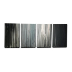 Miles Shay - Metal Wall Art Decor Abstract Contemporary Modern Sculpture- Bamboo Forest - This piece is all silver. Any visible color is a reflection of objects in the room.