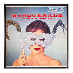 """Glittered Masquerade Album - Glittered record album. Album is framed in a black 12x12"""" square frame with front and back cover and clips holding the record in place on the back. Album covers are original vintage covers."""