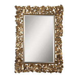 """Uttermost - Uttermost Capulin Antique Gold Mirror 12816 - Metal strips are welded together to create this ornate frame. The antiqued gold leaf finish has a light gray glaze. Mirror has a generous 1 1/4"""" bevel. May be hung horizontal or vertical."""