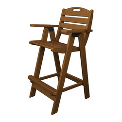 Polywood - Eco-friendly Bar Chair in Teak - The Nautical Collection offers many different chair styles along with tables in both traditional and taller heights. you'll find the perfect match for your decor. Grab a cold drink and make yourself comfortable in the Polywood Nautical Bar Chair.