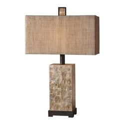 Uttermost - Rustic Pearl Table Lamp in Antiqued Mother of Pearl Shell with Rusti - Table lamp