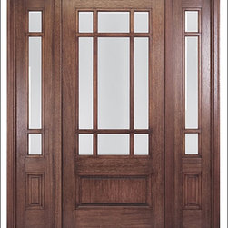 MAI - Craftsman Entry Door Model HTC-700 - Model HTC-700 is from our Home Towne Collection. Door is solid Mahogany.  Styled for Craftsman and Arts & Crafts Homes.  This door can be purchased as one door, two doors, or doors with matching sidelites.