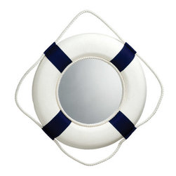 "Blue/White Life Ring Mirror - The blue/white life ring mirror measures 13""Dia. It has a fisherman's rope around the outside for a more authentic look and for easy hanging. It will add a definite nautical touch to wherever it is placed and is a must have for those who appreciate high quality nautical decor. It makes a great gift, impressive decoration and will be admired by all those who love the sea."