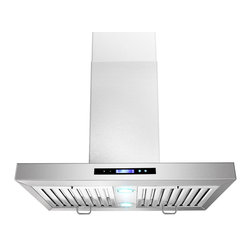 AKDY - AKDY AK-ZGL9003-1-30 Euro Stainless Steel Island Mount Range Hood - This island mounted chimney hood combines modern design and traditional European styling. The 9003-1 series is engineered to meet the requirements of todays' highly styled, conventional appliances and kitchens. Its 870 CFM centrifugal blower and multispeed control provide quiet, effective performance. LED lighting accentuates the beauty of a fully enclosed bottom containing dishwasher-safe filters.