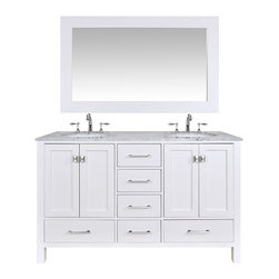 "60"" Malibu Pure White Double Sink Bathroom Vanity With 59"" Mirror - An ideal complement to a contemporary decor, the 60"" Malibu Double Sink Vanity embodies the clean edges and sophistication of modern design. The pure white cabinet, made of solid oak lends a cozy feeling to your bathroom that matches beautifully with the Carrara White Marble top. Sleek and simple stainless steel hardware dresses up the European soft-closing sliders and doors, which give you ample space to store your bathroom items."