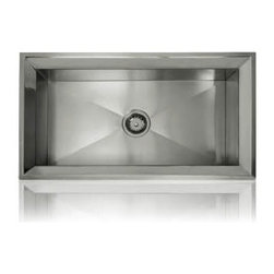 Lenova - Lenova Ss-Rim-Bs Single Undermount/Topmount Single Bowl Stainless Steel - The Lenova SS-RIM-BS Rim Big Single-Bowl Undermount/Topmount Kitchen Sink has overall sink dimensions of 33-Inch by 18-Inch and bowl dimensions of 31-1/2-Inch by 16-1/2-Inch. The name Lenova is born from a love of space and stars where the universe is truly unlimited. In this boundless spirit we present a line of new and timeless designs for kitchen and bath sinks. The Rim Collection is as beautiful to look at as faceted gem stone. Plus it features a dual mounting option. Hand made to our specifications in 16-Gauge premium stainless steel with scratch-resistant satin finish and 5 - Side sound baffling, plus our superior X Channel technology. The Rim Dual mount sinks elevate function to a beautiful new level. Covered by Lenova's Limited Lifetime Warranty: Lenova Sinkware warrants all of its stainless steel sinks to be free of all manufacturing and material defects under normal use by the original owner.