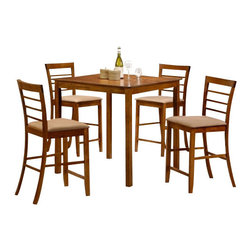 "CBBreaOakPub5pc - 5-Piece Brea Collection Oak Finish Wood Counter Height Table Set - 5-Piece Brea collection Oak finish wood counter height table set with slat back chairs and fabric seats. This set includes the table with legs and 4 side chairs upholstered with fabric seats and slat backs. Table measures 36"" x 36"" X 36"" H. Chairs measure 42"" H to the back. Some assembly required."