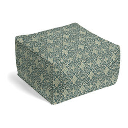Aqua Moroccan Mosaic Square Pouf - The Square Pouf is the hottest thing in decor since the sectional sofa. This bean bag meets Moroccan style ottoman does triple duty as a comfy extra seat, fashion-forward footstool, or part-time occasional table.  We love it in this teal & aqua block print reminiscent of traditional morrocan mosaics.