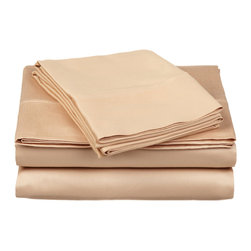 300 Thread Count Egyptian Cotton Full Beige Solid Sheet Set - Experience true 100% Egyptian Cotton luxury when you sleep on these 300 Thread Count sheets.  An affordable luxury that drapes beautifully on the bed. This set includes One Flat Sheet 81x96, One Fitted Sheet 54x75, and Two Pillowcases 20x30 each.