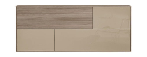 Modloft - Taranto Sideboard, Walnut-Mink Lacquer - The Taranto Sideboard offers a trim and tidy solution for contemporary storage needs. The multi-function sideboard provides useful storage in dining rooms, living room, and home offices. The wall-hanging unit features a wood grain and high gloss surface combination consisting of opening doors behind an abundance of shelf space. Cabinets feature Italian hydraulic hinges for smooth and lasting use. Panels made of high-pressure laminate over engineered fiberboard, and finished on both sides in eco-friendly veneers or colors. Panel thickness 18mm. Designer-selected color palette includes Walnut and Mink Lacquer (high gloss) finishes. Professional assembly required. Made in Italy.
