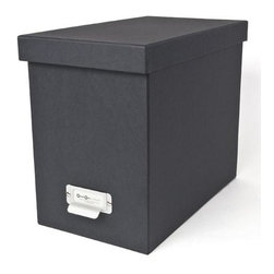 Bigso - Bigso Basix Desktop File Box - Dark Grey - A file box with color and style? We're sold. Snag one (two or three) of our dark grey Basix Desktop File Box's to whip your desk into shape. Please just pay for them first. Accomodates letter size hanging files, sold seperately. Metal label holders remind you of what's stored inside; pull tabs help you pull them from the shelf.