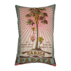 KOKO - Papaya Botanical Pillow - The charming vintage style of this pillow will transport you straight to the tropics. It's retro vibe is perfect for adding a playful touch to most any room. Mix and match it with a collection of other pillows in the same color palette for maximum impact.