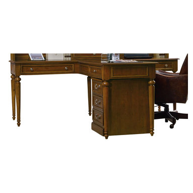 "Hooker Furniture - Clermont Partner's Desk (T Desk) - White glove, in-home delivery included!  Furniture assembly included!  The stately traditional home office group, Clermont, is featured in cherry veneers and hardwood solids in a clear medium finish with medium sheen and very light physical distressing with traditional bail pull hardware in an antique nickel finish.  Partner's Desk only.  Shown with Clermont Partner's Desk Hutch and Clermont Mobile File, sold separately.  One pass-through drawer, two drawers with drop-front for keyboard use.  Keyboard space: 23 1/4"" w x 15 5/8"" d x 3 1/8"" h  Knee space: 24"" h"