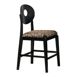 Steve Silver - Steve Silver Optima Counter Height Stool (Set of 2) - The Optima Counter Height chairs are sure to modernize your home's decor. These counter height chairs are in a sleek black finish with a bold contemporary pattern on the upholstered seats. What's included: Counter Height Stool (1).