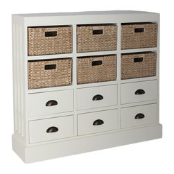 None - Gallerie D�cor Nantucket 6-drawer 6-basket Chest - This decorative and functional unit features a combination of six natural hand-woven basket drawers with recessed handles. Featuring ample storage space,this chest is perfect for the bedroom,living room or home office.