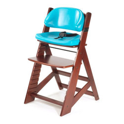 """Keekaroo - Keekaroo Height Right Kids Chair Mahogany with Aqua Comfort Cushions Brown - 005 - Shop for Highchairs from Hayneedle.com! Your child will be begging for family mealtime just so they can sit in their Keekaroo Height Right Kids Chair Mahogany with Aqua Comfort Cushions. Stylish durable and versatile this seat will be your child's favorite seat for years to come. Made from environmentally friendly Rubberwood its sturdy design holds up to 250 pounds. Pop on the included BPA- and latex-free Comfort Cushions and adjust the 3-point harness for added safety and comfort. When mealtime is over simply wipe the chair and cushions down with warm soapy water. The cushions' outer layer is impermeable to liquids and offers antimicrobial protection. Five year manufacturer's warranty. Assembly required. The Beauty and Benefits of RubberwoodHailing from the maple family of trees the rubber tree is used in the manufacture of high-end furniture. This durable Asian hardwood is valued for its dense grain minimal shrinkage attractive color and acceptance of different finishes. It is also prized as an """"environmentally friendly"""" wood as it makes use of trees that have been cut down at the end of their latex-producing cycle. About KeekarooKeekaroo high chairs and accessories were the brainchild of a father devoted to making better safer furniture for his own children. Rethinking size shape and support from the perspective of a parent owner Tom Bergeron tapped the creativity and insights of his own children to create the most innovative line of high chairs and accessories available. Each offers a more comfortable seating experience grows with your child and has an easy-to-clean surface for Mom and Dad."""