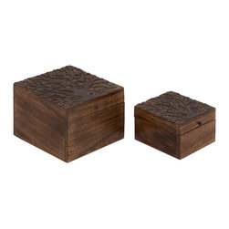 Benzara - Stylish and Classic Inspired Well Designed Smart Wood Carved Box Set of 2 - Stylish and classic inspired well designed smart wood carved box living dining and family room home accent decor