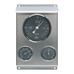 Weather Station Stainless Steel - Stainless Steel Weather Forecasting Station with Barometer, Hygrometer & Thermometer. Weather forecasting made easy. This contemporary designed weather station incorporates three precise weather instruments, a thermometer, a aneroid barometer and a dial hygrometer. The top dial shows the current barometric pressure with weather forecast symbols and features an adjustable pointer on the barometer gauge to track its changes. The two lower dials display the temperature in Fahrenheit and the relative humidity as a percentage. All three instruments are set in a rugged, brushed stainless steel frame with stylish gray facing with chrome dials. This weather station can be wall-mounted either on the exterior or in the interior of your home.