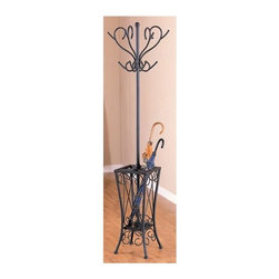 "Coaster - 71 in. Coat Rack w Umbrella Stand - Our 71"" high vintage look coat rack features an umbrella stand base that keeps your umbrellas organized. The metal frame and base is finished in sandy black and displays complicated scrollwork that recalls the best wrought iron furnishings of the last century. * Traditional style. Simple round post embellished with swirled lines. Curvaceous design. Sandy black finish. 11 in. W x 11 in. D x 71 in. H. WarrantyEmploy the stylish storage capabilities of this black coat rack with umbrella stand in your entryway, hallway or living room and let your guests do the rest. An umbrella stand features swirled flourishes on its base and provides decorative storage space for stowing umbrellas and related rain gear."