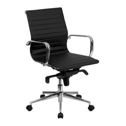 Flash Furniture - Flash Furniture Mid-Back Black Ribbed Upholstered Leather Conference Chair - This elegant office chair will add an upscale appearance to your office. The comfort molded seat has built-in lumbar support and features a locking tilt mechanism for a mid-pivot knee tilt. This chair features dual paddle controls to easily adjust your chair and an integrated bar in the back to keep your jacket within reach. If you're looking for a modern office chair that provides a sleek look, then the ribbed upholstered leather office chair by flash furniture delivers. [BT-9826M-BK-GG]