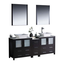 "Fresca - Fresca Torino 72"" Modern Double Sink Bathroom Vanity, Espresso - Fresca is pleased to usher in a new age of customization with the introduction of its Torino line. The frosted glass panels of the doors balance out the sleek and modern lines of Torino, making it fit perfectly in either Town or Country dcor."