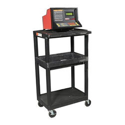 Luxor Furniture - Plastic Utility Cart w 3 Shelves - Includes 4 in. swivel casters. Two casters with locking brake. Top storage tray with six tray dividers. Weight capacity: 400 lbs.. Black color. 24 in. L x 15.75 in. W x 33.75 in. H. Warranty