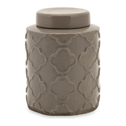 iMax - Essentials Small Atmosphere Canister with Lid - Part of the popular Essentials by Connie taupe collection, this ceramic canister adds a nice pop of color to any room. Perfect for accenting a tabletop or shelf, use it to store odds and ends or as a purely decorative touch. For a coordinated look, pair with other taupe Essentials accessories.
