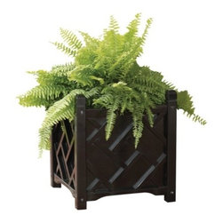 Chippendale Square Planter, Black - Whether it's featured on stair railings or planters, Chinese Chippendale is my favorite style for outdoor design. This is a great hardwood planter with a black finish.