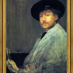 "James McNeill Whistler-18""x24"" Framed Canvas - 18"" x 24"" James McNeill Whistler Arrangement in Grey: Portrait of the Painter framed premium canvas print reproduced to meet museum quality standards. Our museum quality canvas prints are produced using high-precision print technology for a more accurate reproduction printed on high quality canvas with fade-resistant, archival inks. Our progressive business model allows us to offer works of art to you at the best wholesale pricing, significantly less than art gallery prices, affordable to all. This artwork is hand stretched onto wooden stretcher bars, then mounted into our 3"" wide gold finish frame with black panel by one of our expert framers. Our framed canvas print comes with hardware, ready to hang on your wall.  We present a comprehensive collection of exceptional canvas art reproductions by James McNeill Whistler."