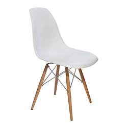 Nuevo Living - Charlie Dining Chair in White by Nuevo - HGZX213 - The Charlie dining chair in White is a modern classic Eiffel design base with wooden dowel legs.  The ABS plastic version of this is higher end than many plastic seat chairs of this style and model.