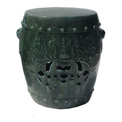 Golden Lotus - Chinese Green Round Lotus Pattern Clay Stool - This clay stool is hand-made and glazed with green color. It is a beautiful piece with the lotus pattern on two sides and Fu-dog heads on two sides as well as the little round buttons. Besides being a garden stool, this kind of stool is getting popular for decorating indoor home. It is mostly use as a table base/ small coffee table, plant stand or simply as a decor item.