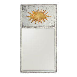 John Richard - John Richard Altair Mirror JRM-0646 - The starburst eglomise top mirror is reversed painted and foxed whilst the bottom mirror is a modern beveled mirror, both framed with foxed mirror strips.