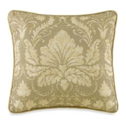 Ex-cell Home Fashions, Inc.,bath - Cristina Reversible Square Toss Pillow - This Cristina decorative pillow showcases a finely printed damask motif framed by coordinating ivory twist cord trim. It reverses to a red satin for an excellent way to give this ensemble a rich pop of color.