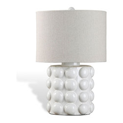 Kathy Kuo Home - Bubbly White Ceramic Coastal Style Table Lamp - Light up your modern room with this sleek, clean-lined white ceramic lamp. The round white bubbles add interest and whimsy while the natural tan linen shade balances the piece, blending a glossy base with a textured shade.