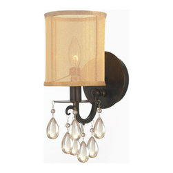 Crystorama - Crystorama 5621-EB Hampton 1 Light Wall Sconces in English Bronze - Crystorama's very popular Hampton Collection offers fashion forward designs with soft crystal accents. The Silk Shimmer shade along with the English Bronze finish allows this collection to fit any transitional to contemporary room.
