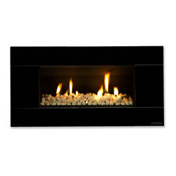 Escea Luxury Fireplaces - ESCEA Indoor Gas Satin Black Fireplace - Ferro Front, W/ Fuel Bed, W/O Flue Bend - The ESCEA Indoor gas fireplace with the satin black Ferro fascia is a sleek, contemporary style fireplace.