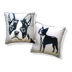 Boston Terrier Pillow by Naked Decor - This fun pillow, featuring a cutie Boston Terrier in fun graphics, has two looks; flip it over when you want to change things up a bit!