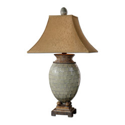 Uttermost - Kayson Green Mosaic Table Lamp - Put your Mediterranean style bedroom in the best light with this pale green mosaic lamp. A visual treat on a grand scale this tall table lamp features a mosaic tile body lofted by a charming bronze rectangle bell shade. Dress up your dresser or top off your nightstand with elegant bedside lighting.