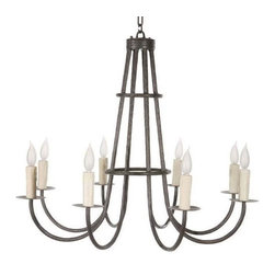Stone County Ironworks - Cedarvale 8-Arm Chandelier w Ivory Candle Drip Cover (Antique Copper) - Finish: Antique Copper. Includes a foot of chain and a ceiling mounting plate. Taller with a double-ring set of collars and candle drips. 32 in. W x 32 in. D x 28 in. H (33 lbs.)This chandelier is a part of the Cedarvale Collection and carries the requisite Cedarvale textures and other design elements consistent with this popular family of forged iron product.