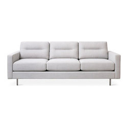 Gus Modern - Gus Modern | Logan Sofa - Comfortable with a refined modern style, the Logan Sofa by Gus* Modern is a perfect balance of form and function. A Dacron-wrapped poly fill provides the feel and comfort of down while keeping its shape. The sturdy inner frame of the Logan Sofa is made with kiln-dried 100% FSC-Certified hardwood, while the low-profile stainless steel legs and channel-stitched back cushions give it a subtle finish.