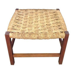 Used Rustic Woven Stool - This cute Mid-Century style stool adds a perfect touch of rustic charm.  It is structurally sound and solid wood.  The weave is a bit worn and there is some cracking in one of the corners, see pictures.