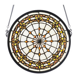 Meyda Tiffany - Meyda Tiffany Fleur-De-Lis Medallion Stained Glass Window X-93894 - The kaleidoscope effect of this Meyda Tiffany stained glass window makes it an excellent addition to an array of settings from classic to traditional. The beautiful fleur-de-lis inserts are complimented by soft, muted tones in shades of pink, mauve, green and lemon, completing the look.